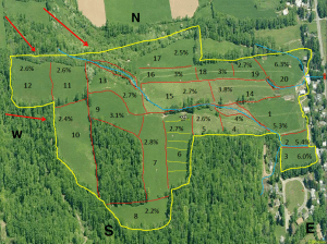 The Bishopp Family Family Farm map shows the pastures identified by number, and 2008 soil organic matter.