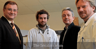 That's Gilles-Eric Séralini on the left. Photo from gmoseralini.org which is not owned or operated by Séralini or any of his team.