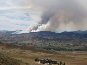 Fire in front range area just west of Loveland, CO.  Photo by Kathy Voth