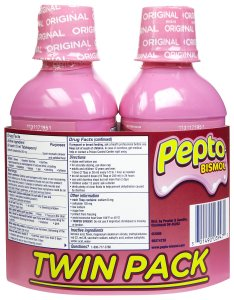 You may know this is a Pepto Bismol, but its original name was Mixture Cholera Infantum.  It was developed by a doctor trying to save children suffering from cholera infantum and contains pepsin, zinc, salts, salon, oil of wintergreen and a little coloring to make it pink.
