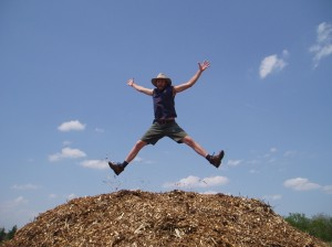Jumping on a huge pile of wood chips.  Risk Level: Splinters