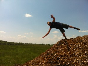 Falling off a huge pile of wood chips.  Risk Level:  Uh Oh.