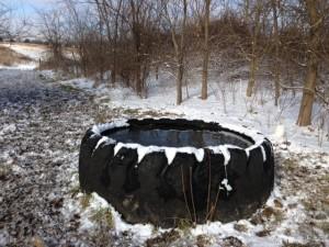 Freeze proof tire tank - open water necessary in winter.