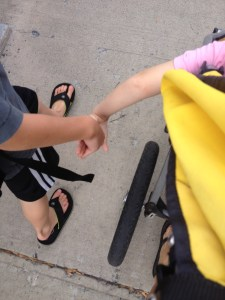 Holding hands...and yes, it was warm enough for flip flops in October!