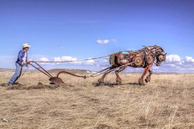 Artist John Lopez takes turning old farm machinery into yard art very seriously.  Click on the picture to see all the machinery that went into this plow horse.