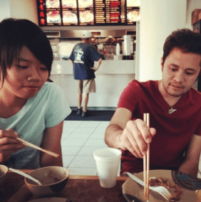Ali continues to expand his understanding of other cultures.  Here he learns to use chopsticks.