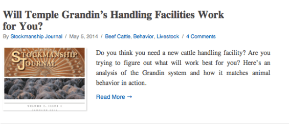 Will Temple Grandin's Handling Facilities Work For You