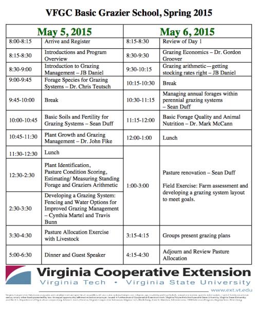 VFGC Grazier School Schedule