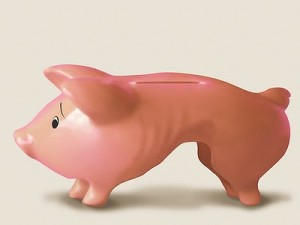 Skinny pigs make for skinny piggy banks.