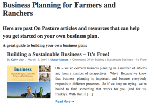 Business Planning for Farmers and Ranchers