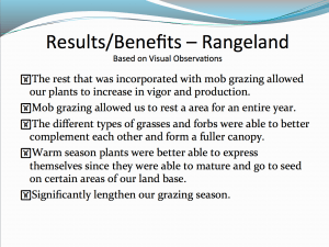 Results and Benefits to Rangeland