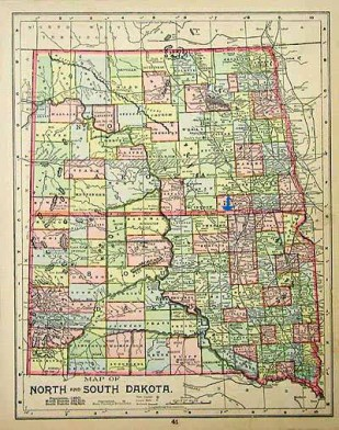"""This antique map of North and South Dakota shows how the Missouri River basically splits the two states in half: """"West"""" river on one side and """"East"""" river on the other. Forbes, North Dakota is about where the blue arrow is."""