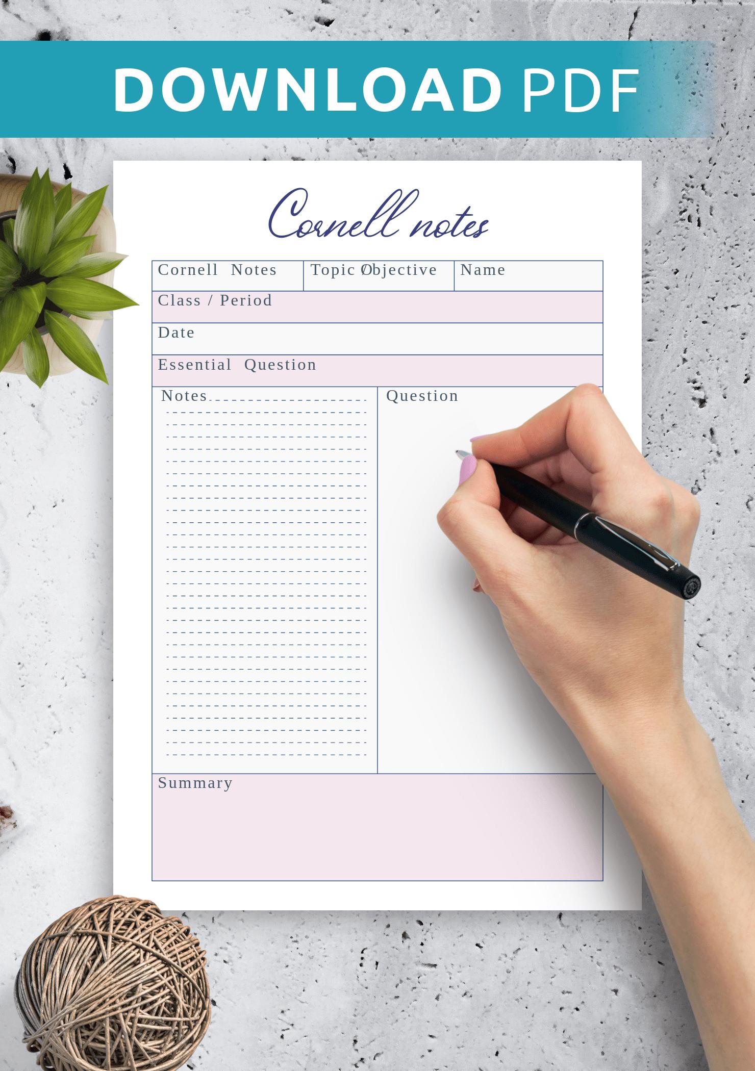Download Printable Cornell Notes Worksheet