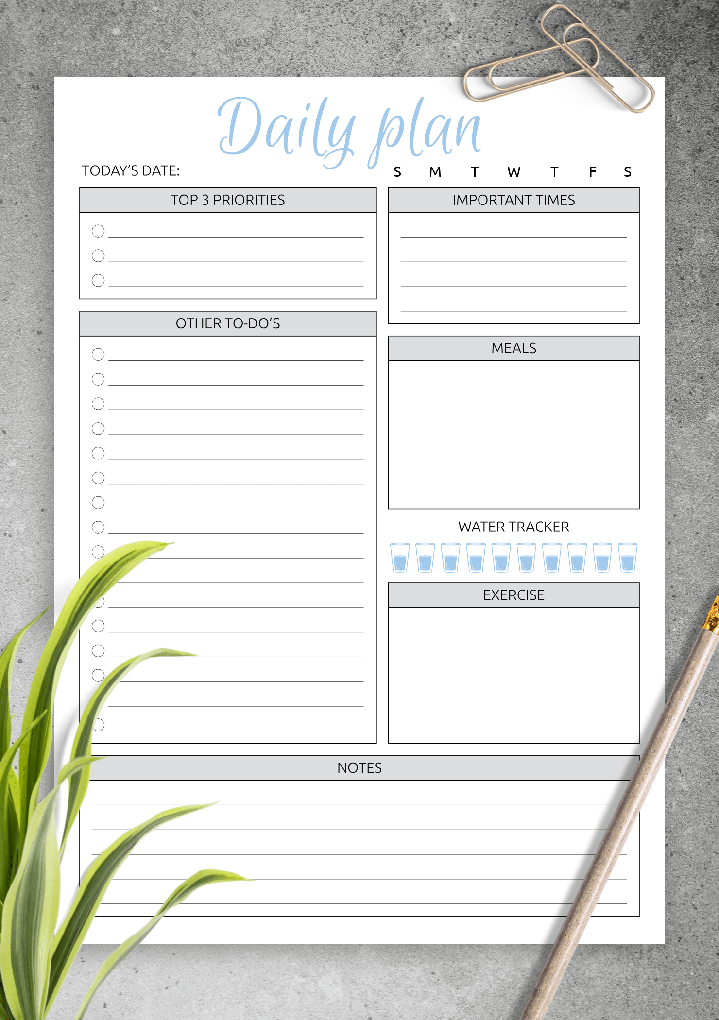 Download Printable Daily Plan With To Do List Amp Important