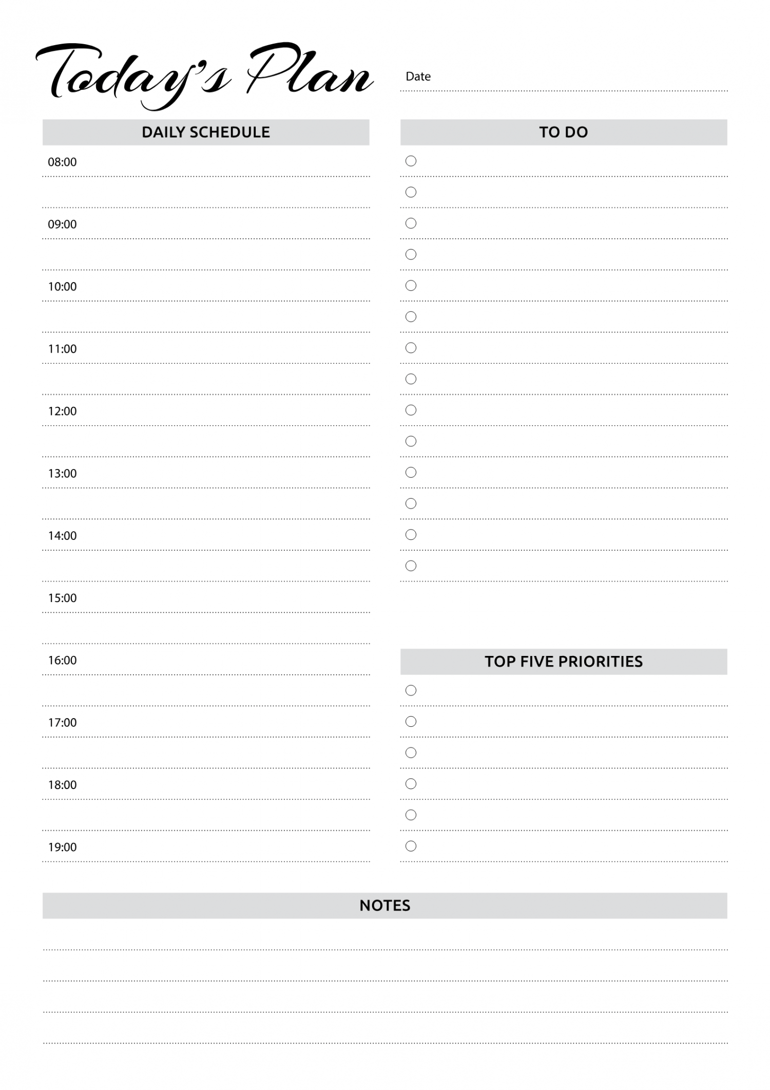 Free Printable Daily Planner With Hourly Schedule Amp To Do