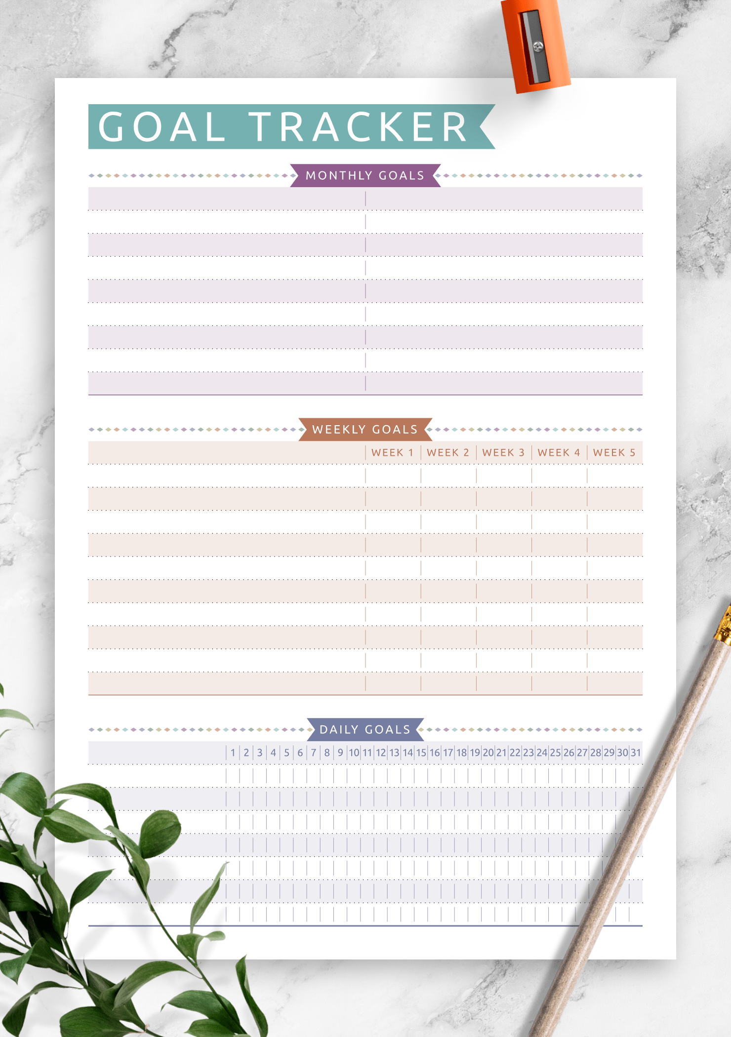 Download Printable Goal Tracker
