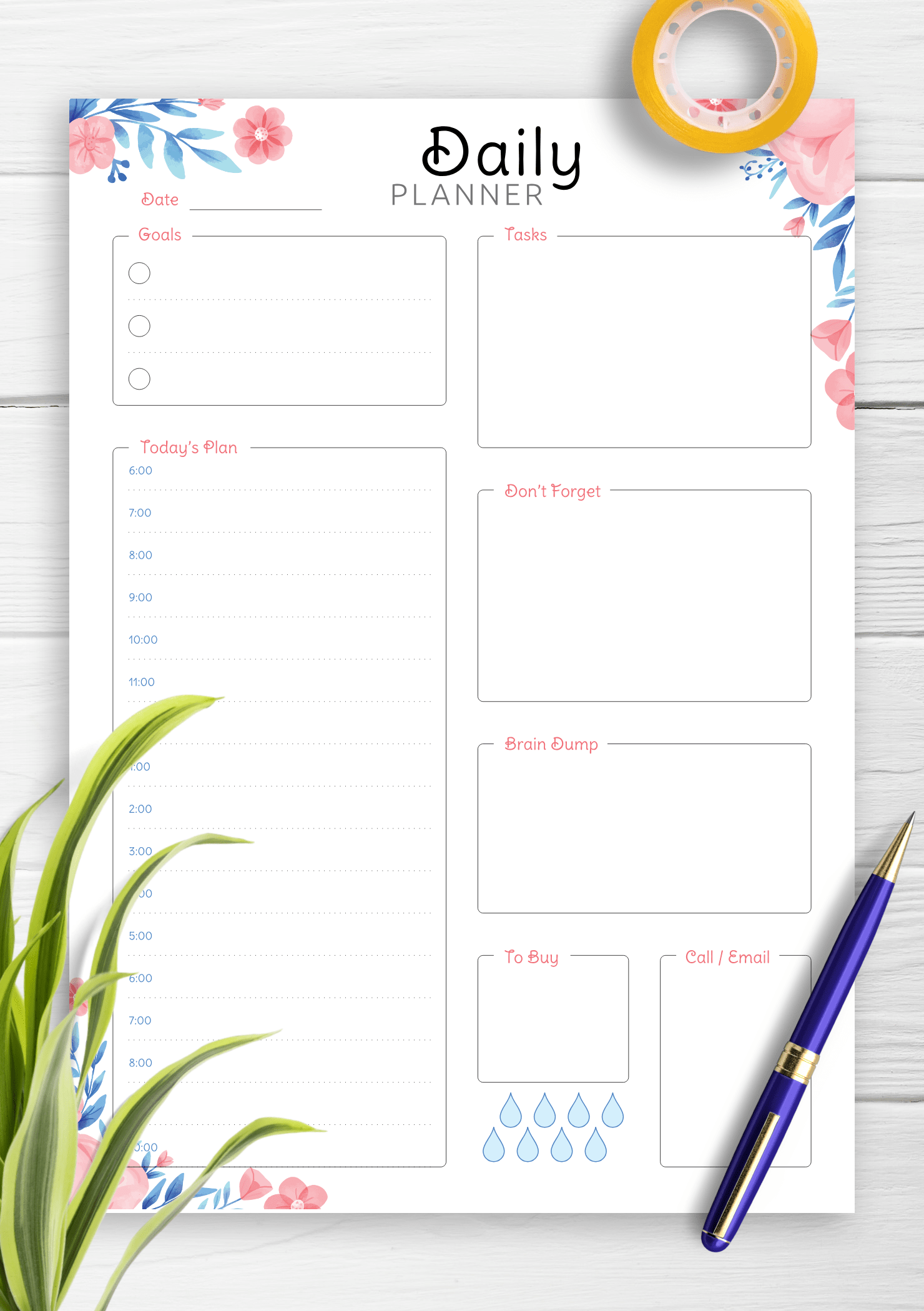 Download Printable Hourly Planner With Daily Tasks Amp Goals