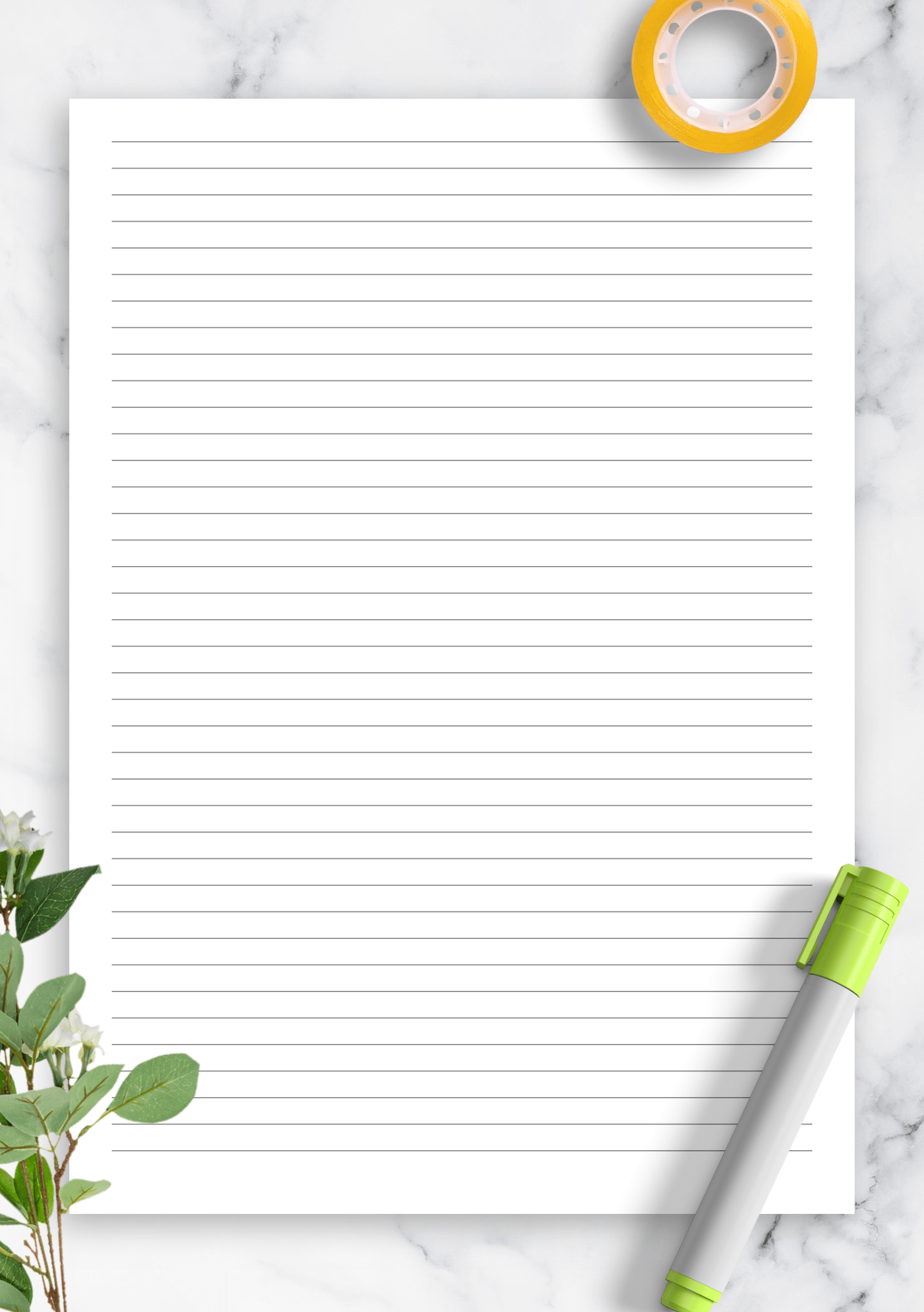 Download Printable Lined Paper Template 5mm