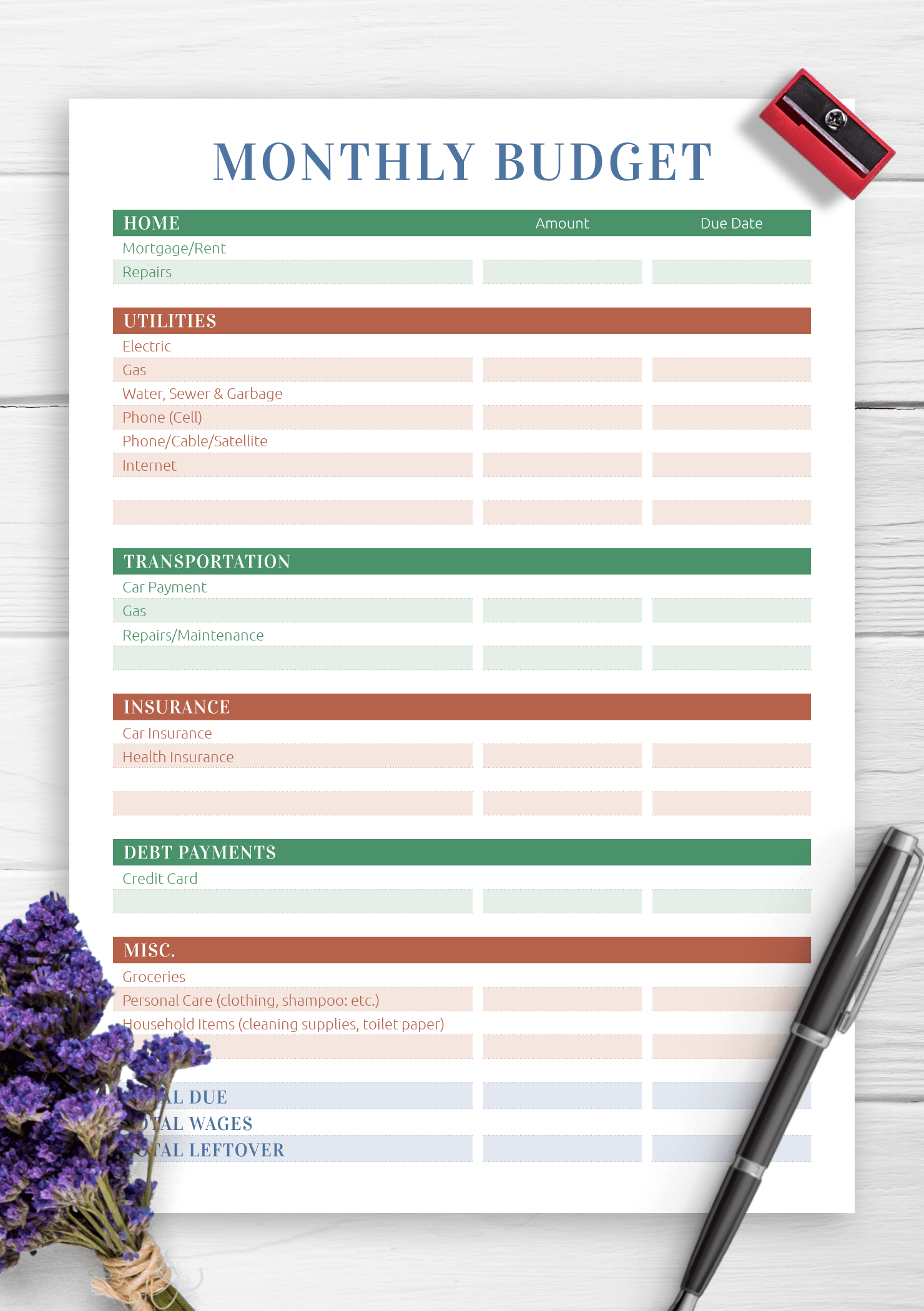 Download Printable Monthly Household Budget