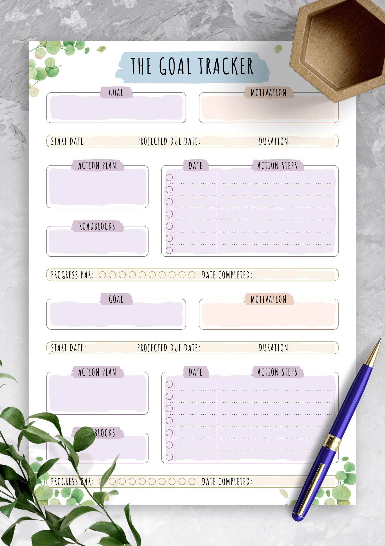 Download Printable Personal Goal Tracker