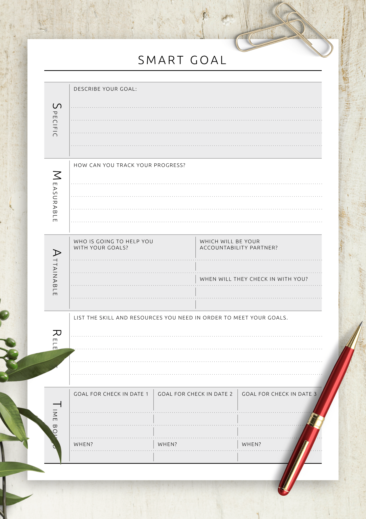 Download Printable Personal Smart Goal Template
