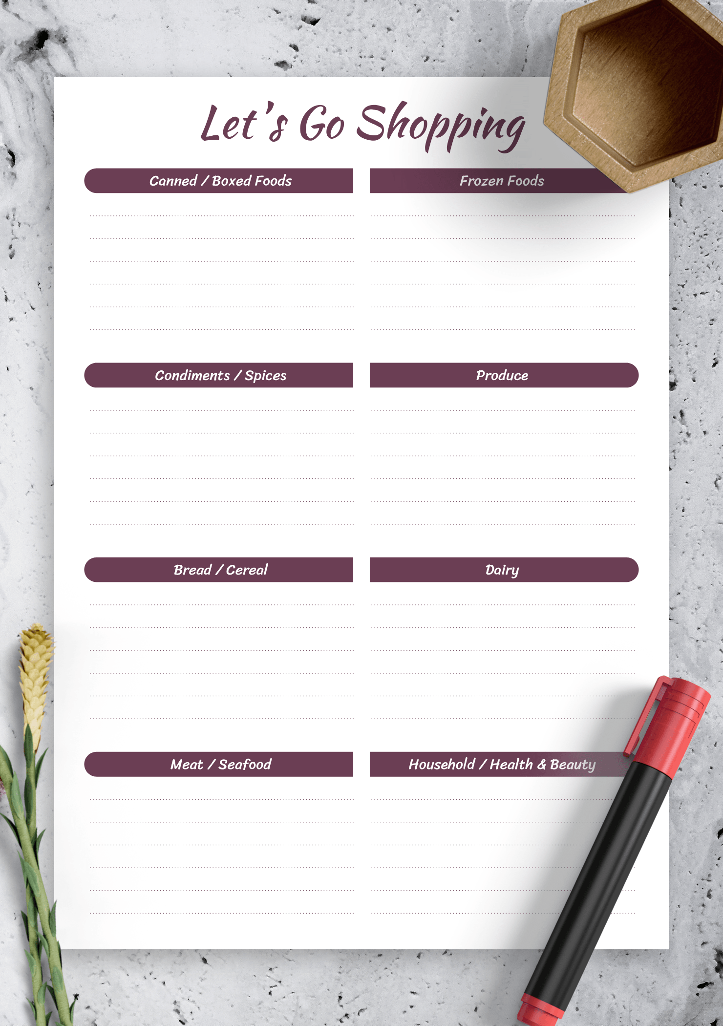 Download Printable Shopping List Template