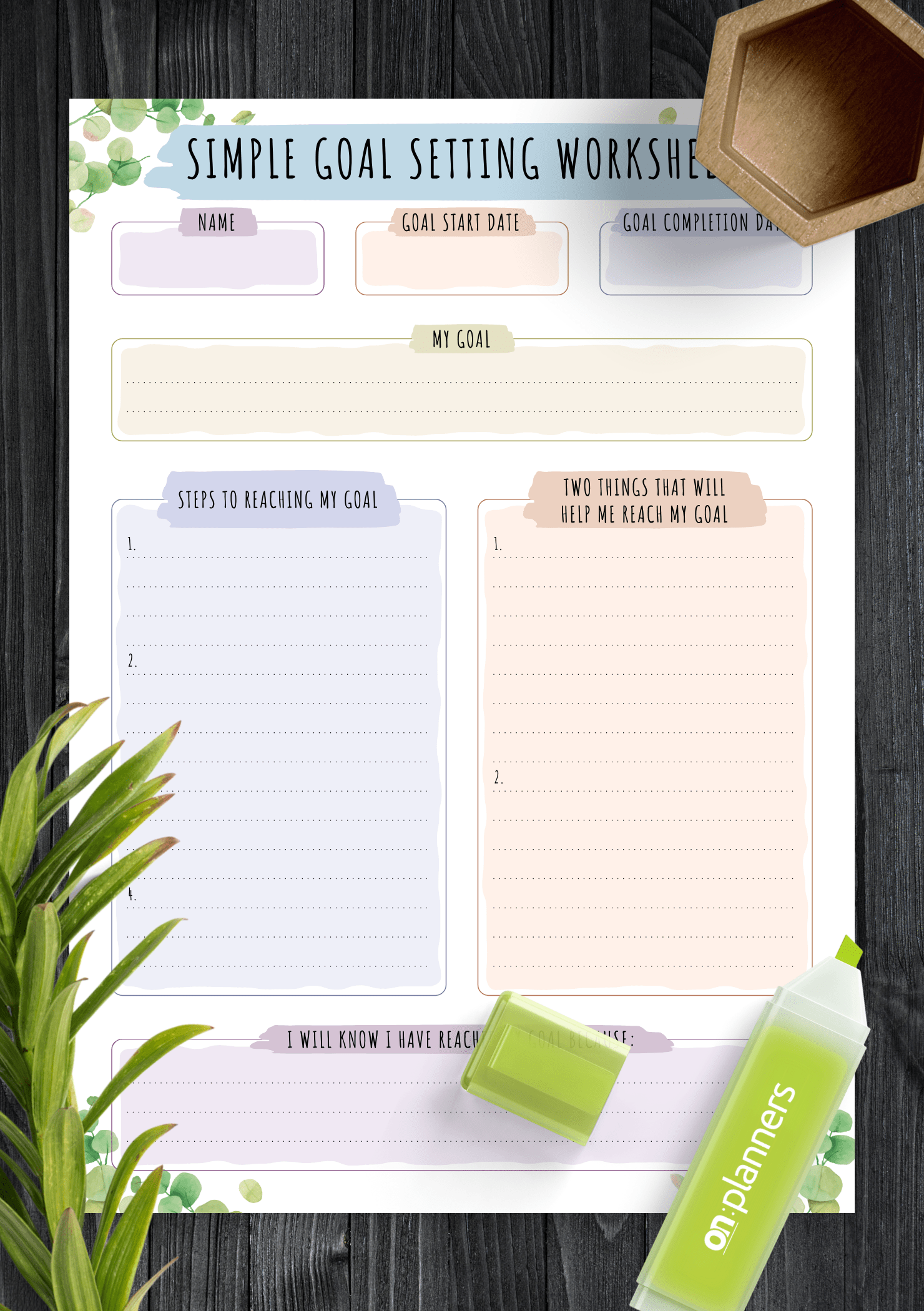Download Printable Simple Goal Setting Worksheet