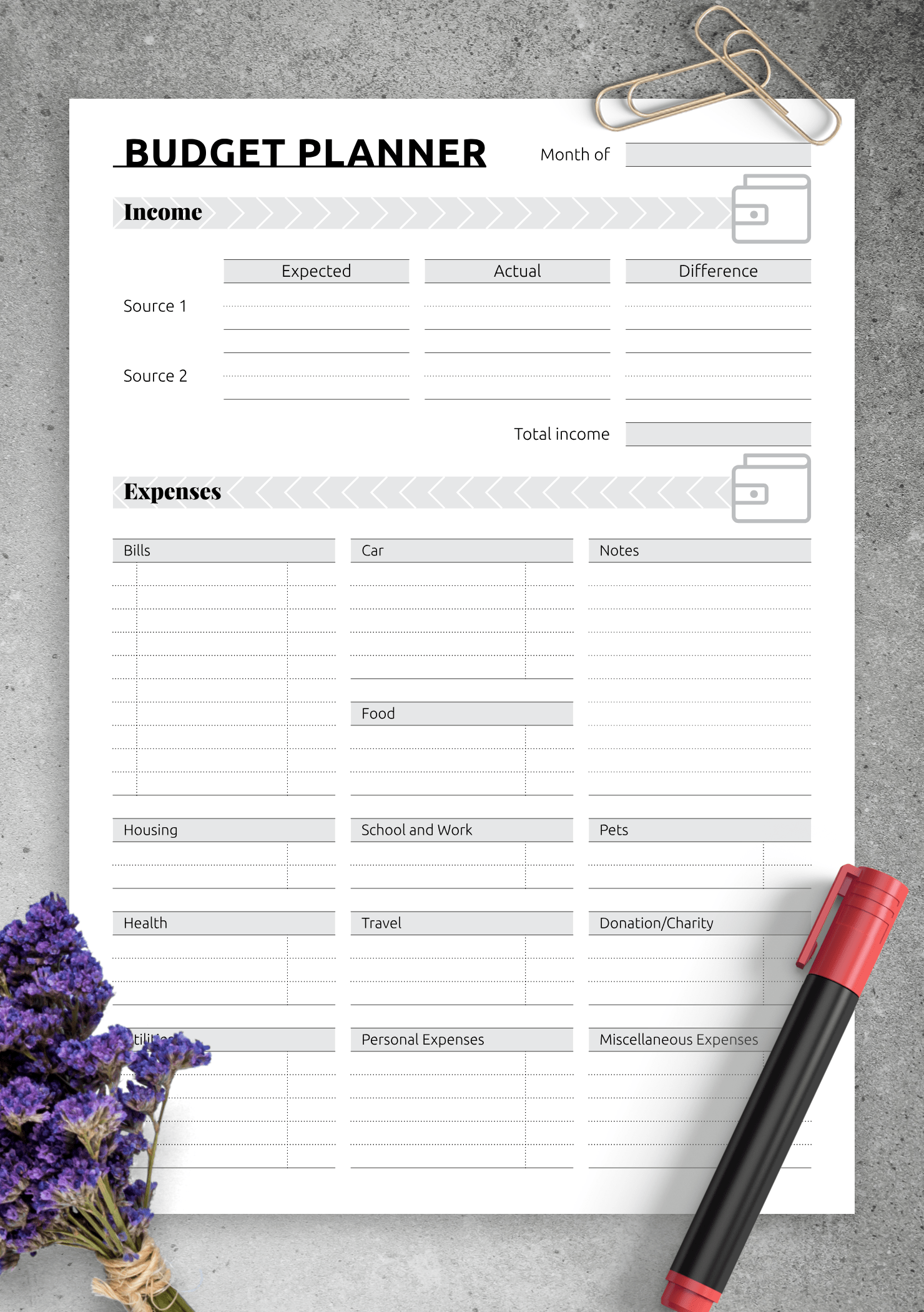 Download Printable Simple Monthly Budget Template