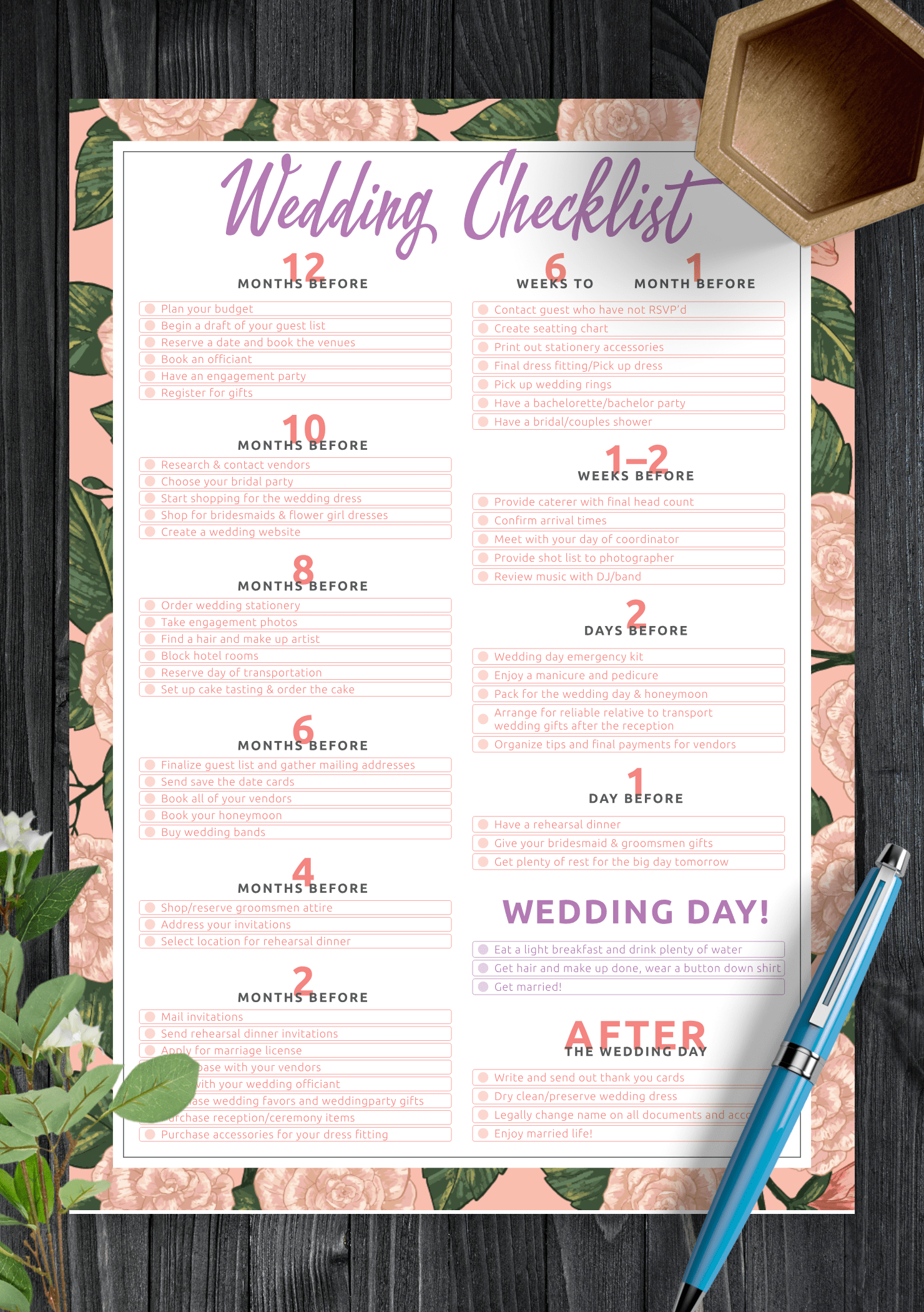 Download Printable Wedding Checklist