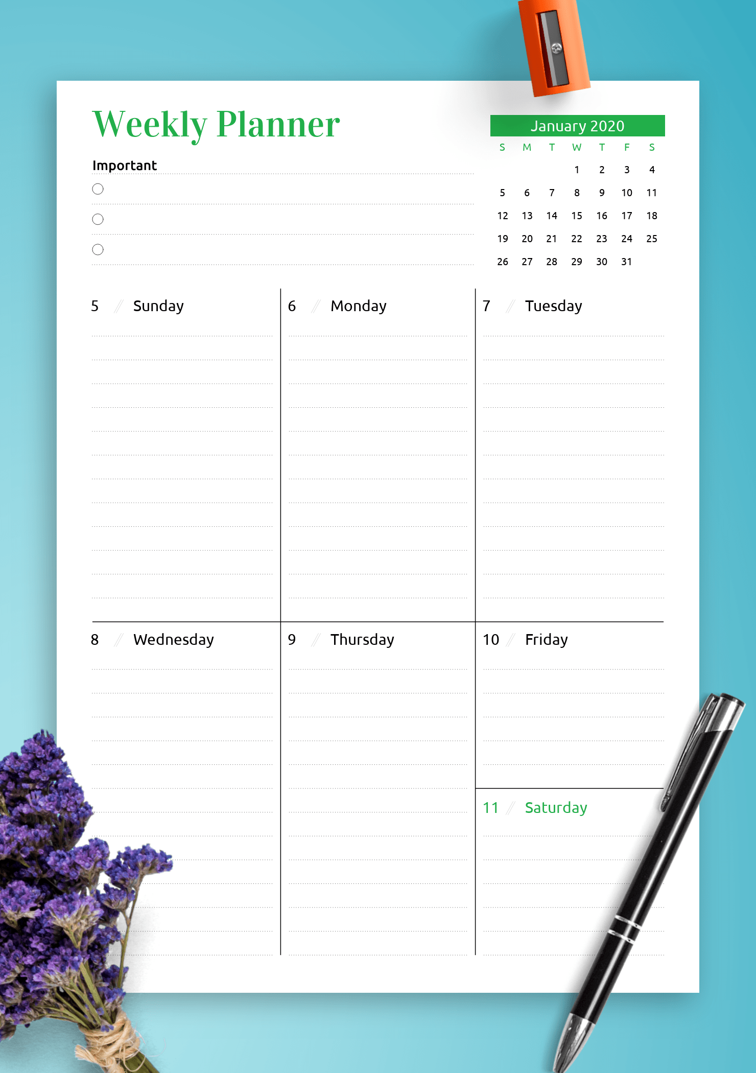 Download Printable Week At A Glance Planner With Calendar