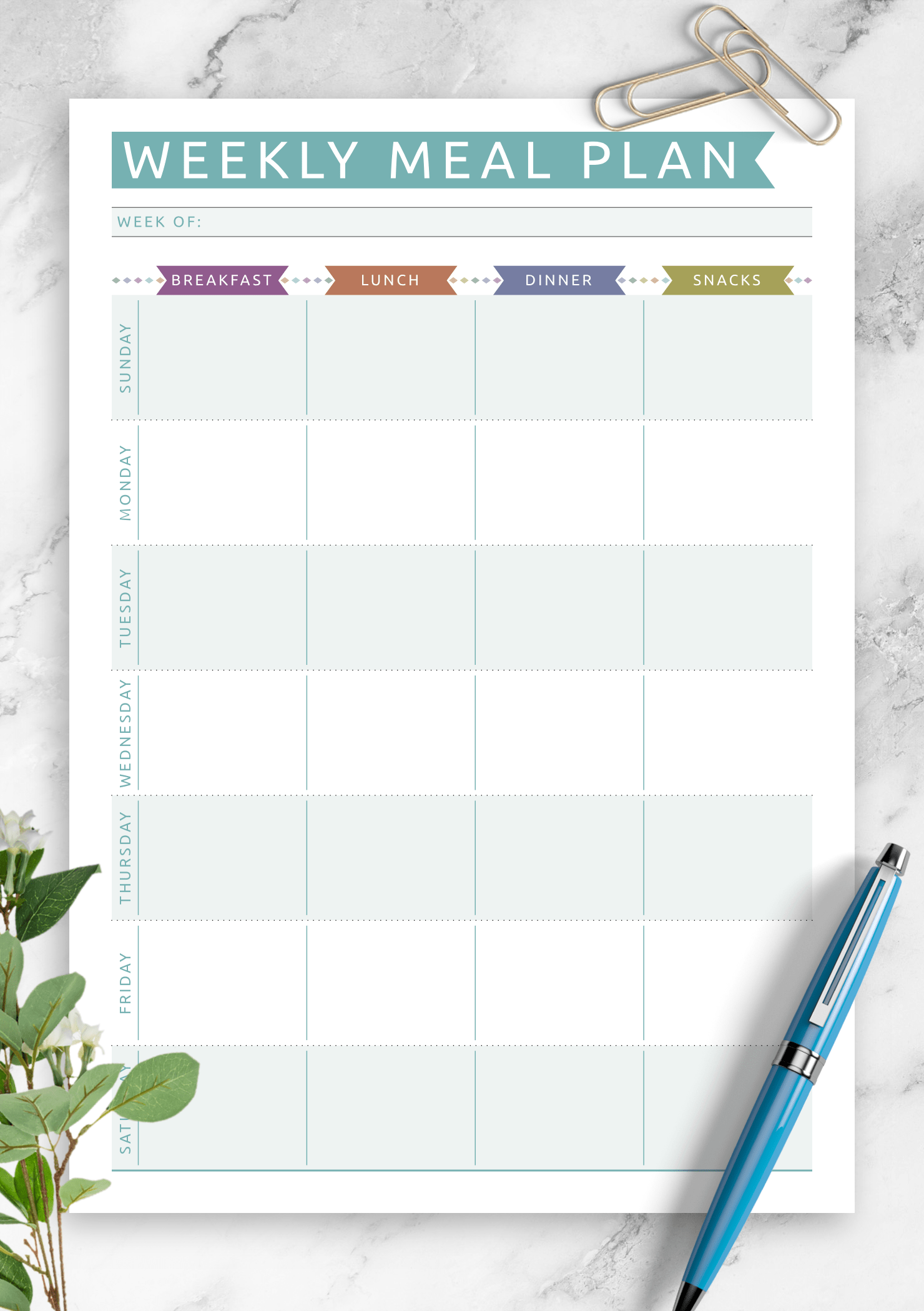 Download Printable Weekly Meal Plan
