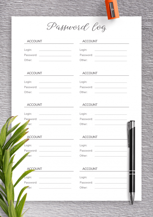 If you believe writing things down on paper is a more. Password Log Templates Download Password Template Pdf