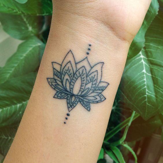 Womens Lotus Flower Wrist Tattoo