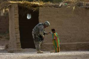 Soldier Talking With Iraqi Girl