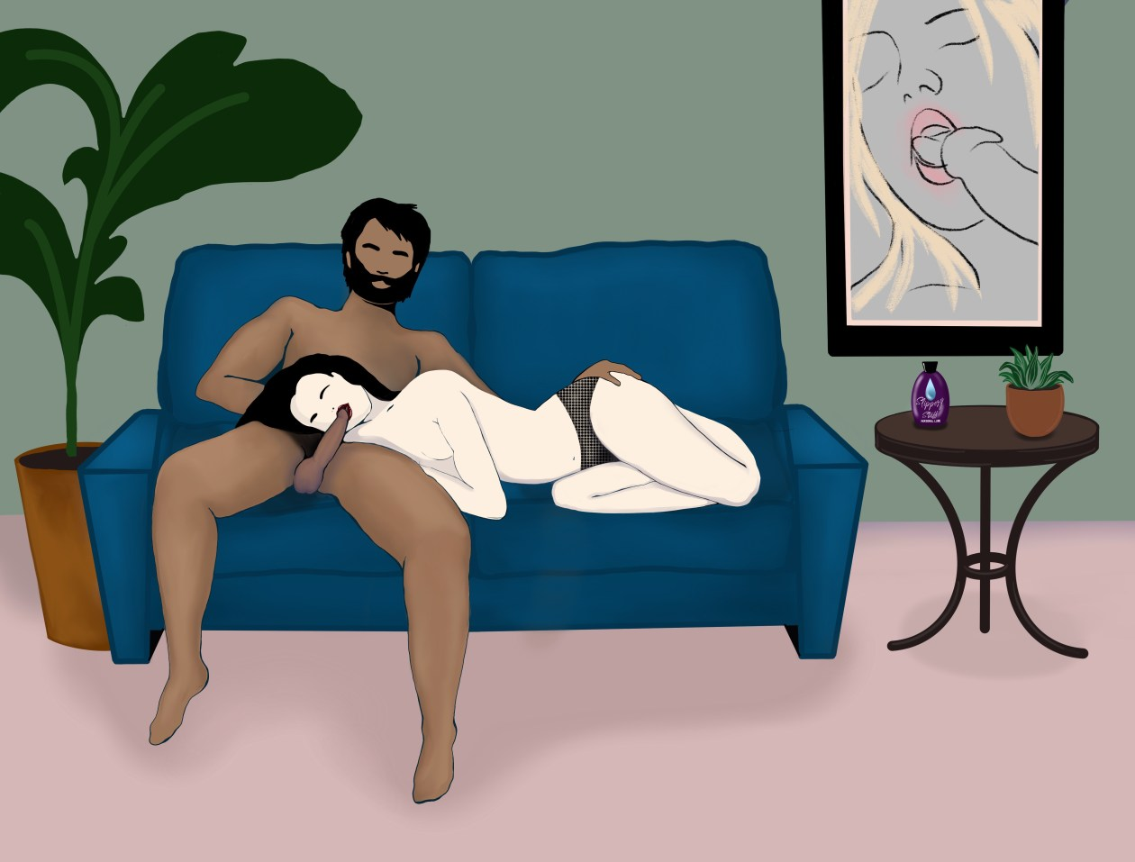 Drawing of a woman giving a man a blow job - he is sitting, legs spread, on a blue sofa, and she is lying next to him with her head in his lap. She is wearing knickers, and his hand is lying gently and intimately on her butt. In the background there is a pot plant, a coffee table with a bottle of lube on it, and a painting featuring erotic art.