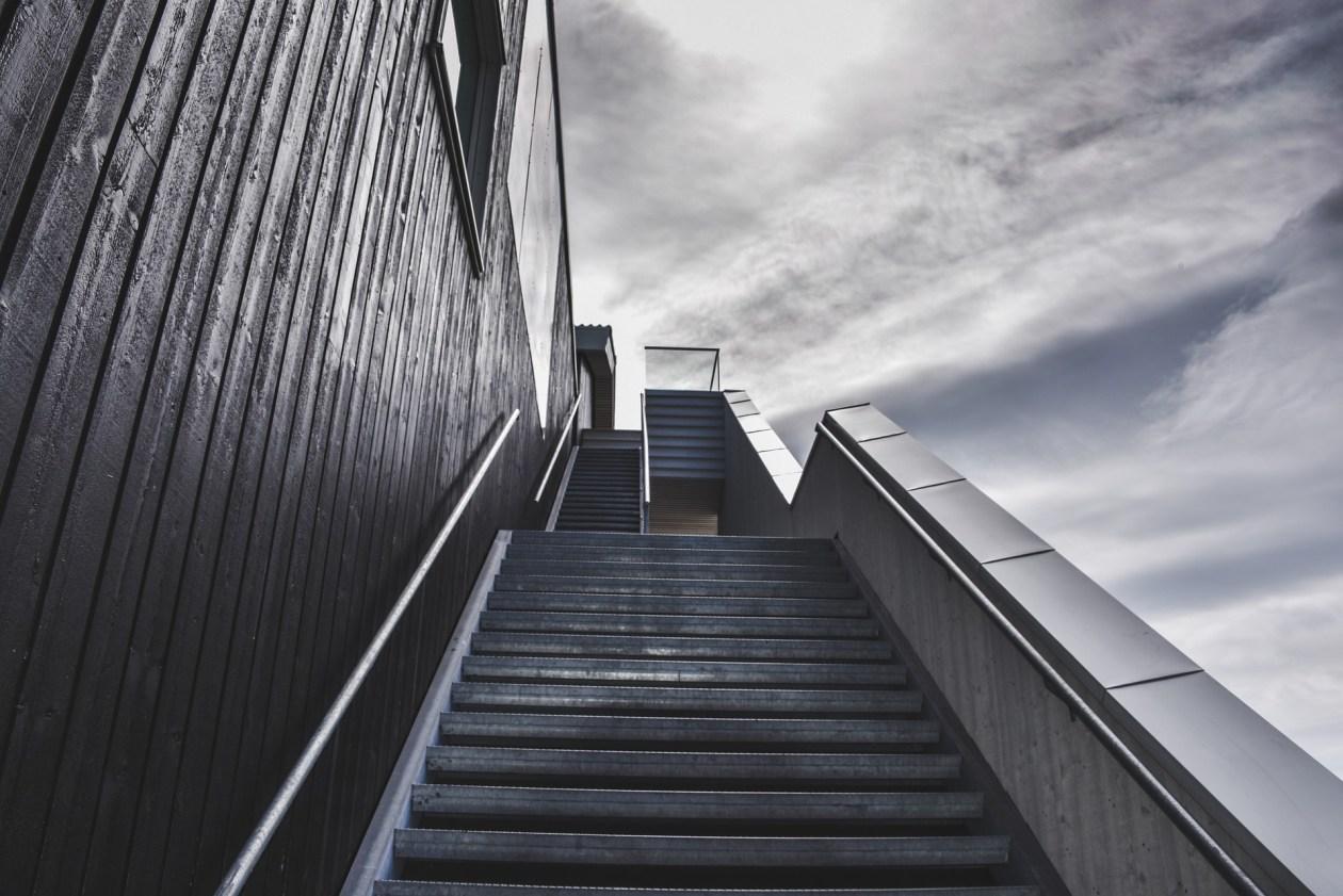 Flight of intimidating stairs leading upwards. Photo.
