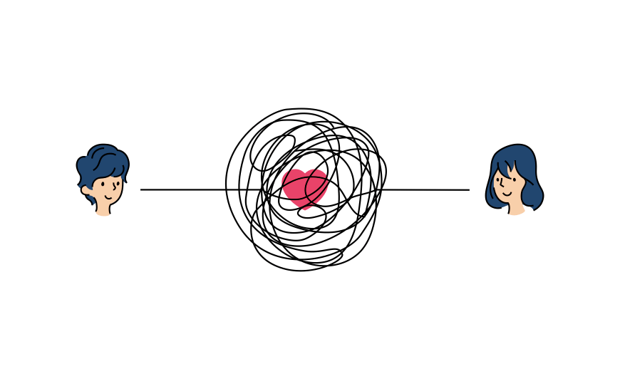 Two people looking at each other, connected by a messy line around a heart. Graphic.