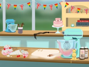The Bake Off tent, filled with baking implements and kink and sex toys.