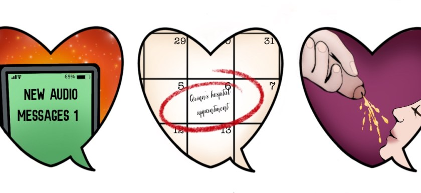 Three speech bubble hearts, each depicting a different kinky love language: one with a phone with an unread audio message, one with the date of a hospital appointment circled in a calendar; one with someone with a dick peeing on someone's face. Artwork.