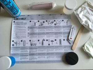 Instructions and equipment from one Clone-A-Willy kit. Photo.