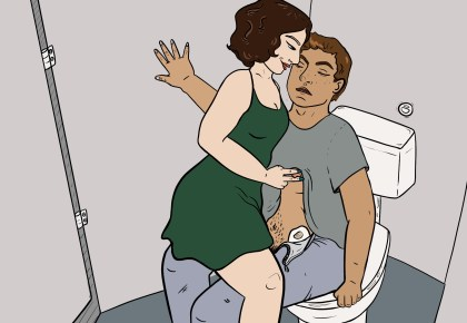 Illustration of a white femme in a green dress riding the cock of a brown-skinned guy sitting on the seat in a toilet stall. Her expression is mischievous and she's pinching his nipple and his t-shirt is pulled up to make his stoma bag visible. He looks like he's struggling not to come.