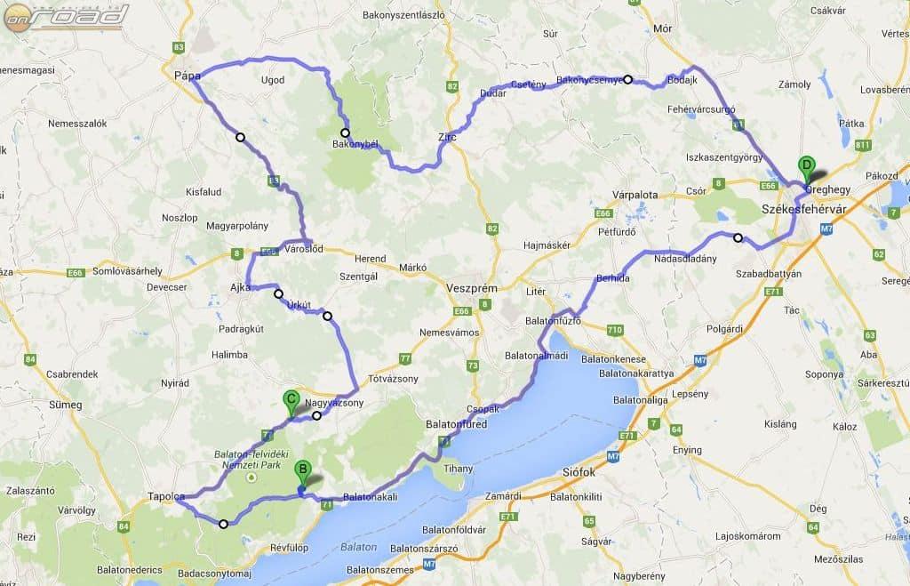 A tervezett útvonal háromszáz kilométer - ebéd után pedig csupa kanyar az egész!