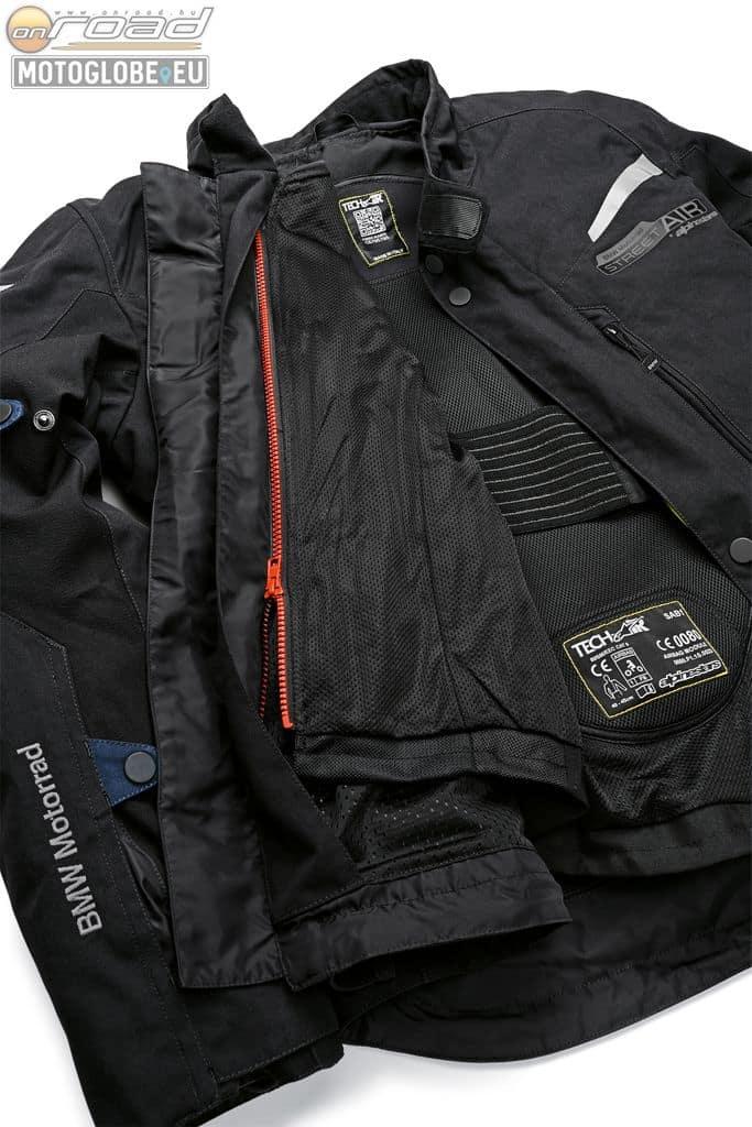 A mellény szervesen rögzül a kabátba, így téve azt a legmagasabb védelmi rendszerű motoros ruhává