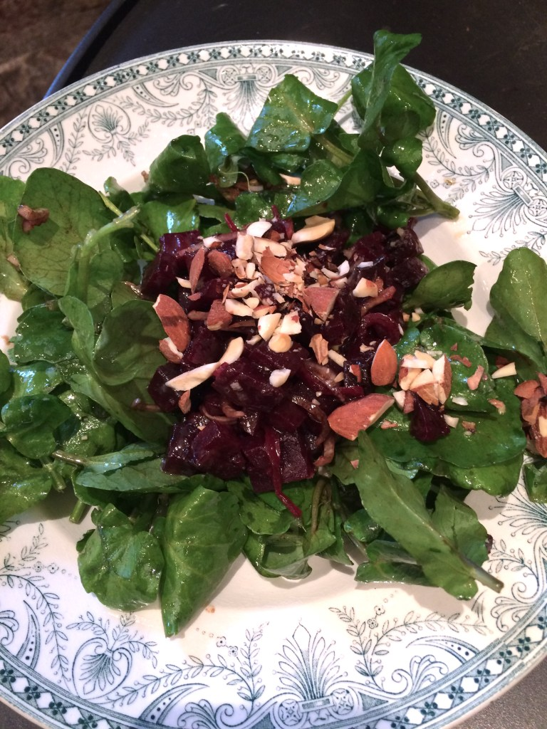 WATERCRESS AND BEET SALAD WITH ALMONDS