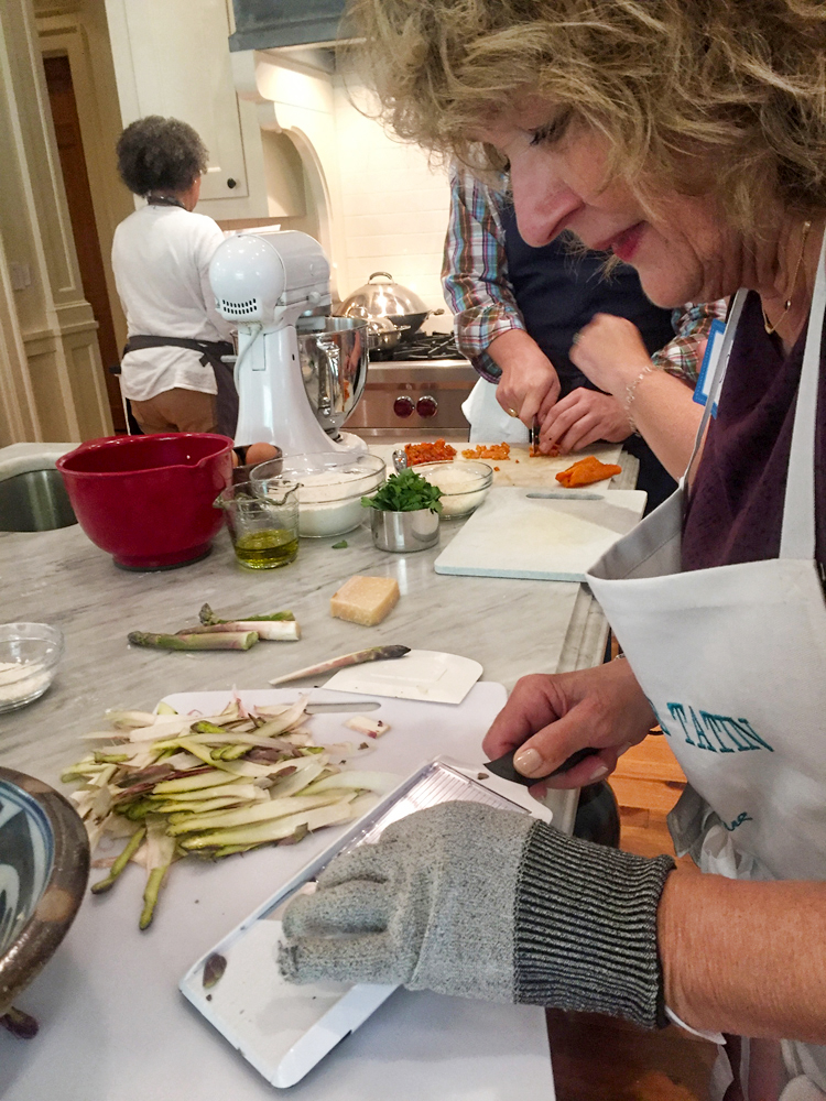 Slicing asparagus with mandoline