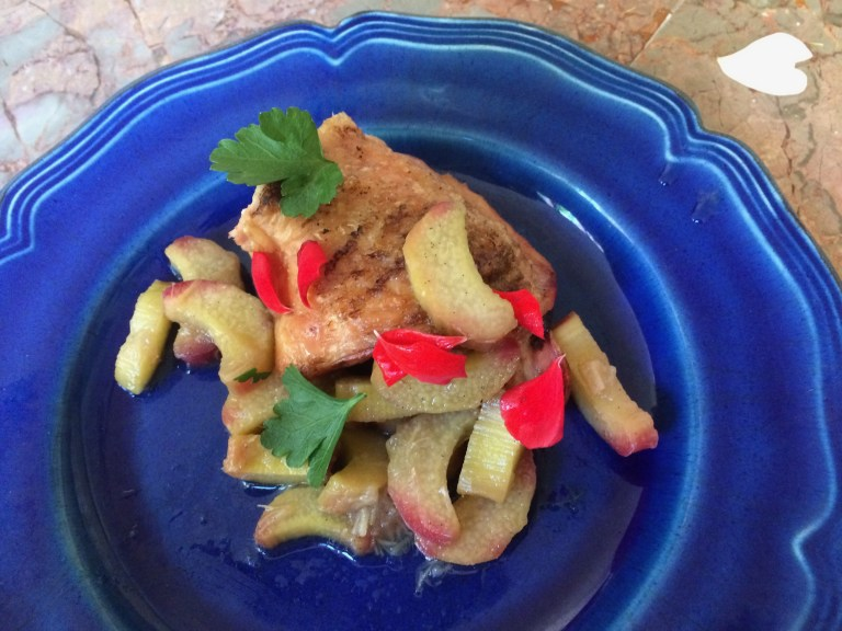 GRILLED CHICKEN WITH SPICY RHUBARB