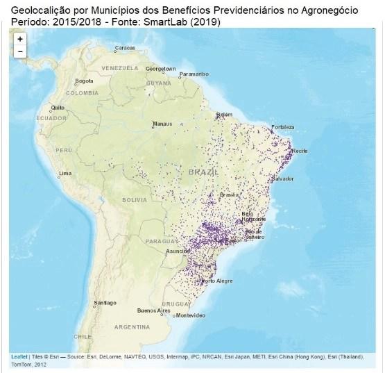 geolocalização por municípios dos benefícios providenciários no agro