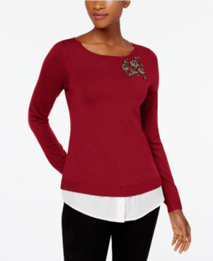 Layered-Look Brooch Sweater, Created for Macy's, $39.99