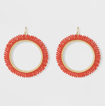 Beaded Seed Bead Hoop Earrings. $7.99