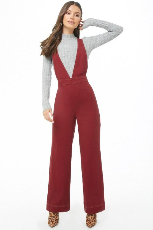 Plunging Pinafore Jumpsuit,$29.90